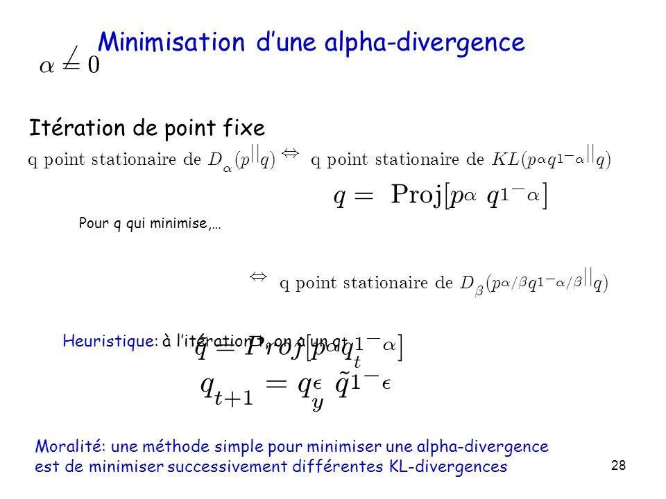 28 Minimisation dune alpha-divergence ® 6 = 0 qpo i n t s t a t i ona i re d e D ® ( p jj q ), qpo i n t s t a t i ona i re d e KL ( p ® q 1 ¡ ® jj q