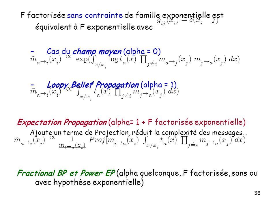 36 F factorisée sans contrainte de famille exponentielle est équivalent à F exponentielle avec –Cas du champ moyen (alpha = 0) –Loopy Belief Propagati