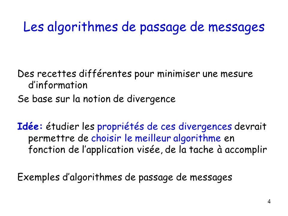 4 Les algorithmes de passage de messages Des recettes différentes pour minimiser une mesure dinformation Se base sur la notion de divergence Idée: étu