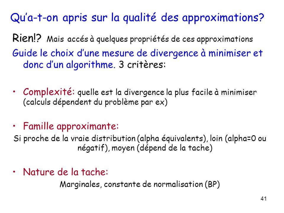 41 Qua-t-on apris sur la qualité des approximations? Rien!? Mais accés à quelques propriétés de ces approximations Guide le choix dune mesure de diver