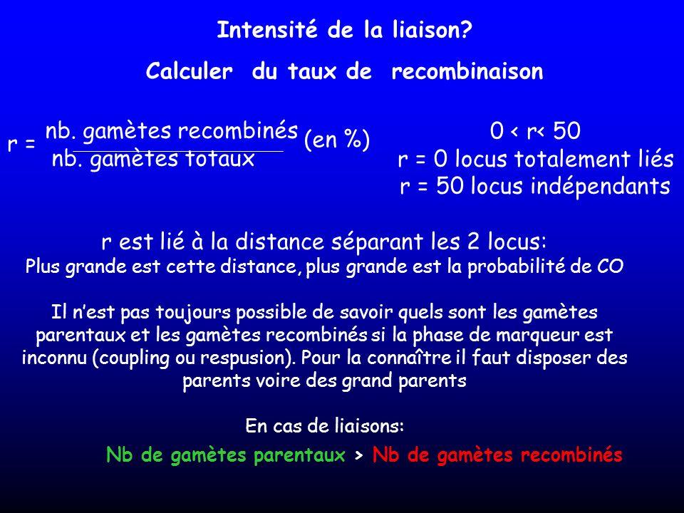 Intensité de la liaison? Calculer du taux de recombinaison nb. gamètes recombinés nb. gamètes totaux (en %) 0 < r< 50 r = 0 locus totalement liés r =