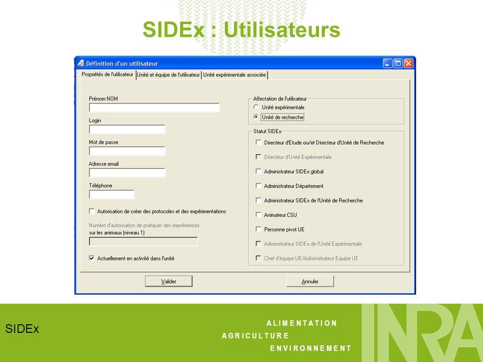 A L I M E N T A T I O N A G R I C U L T U R E E N V I R O N N E M E N T SIDEx SIDEx : bilan - Utilisé sur 9 sites - Interfacé avec dautres SI (Geedoc, Geel, IFIP et SIVOL) - SGBDR MySQL v5, stocké au CTIG (sauvegarde, disponibilité, pérennité) - Migration appli WEB sur le serveur de production - Amélioration du module de recherche à prévoir