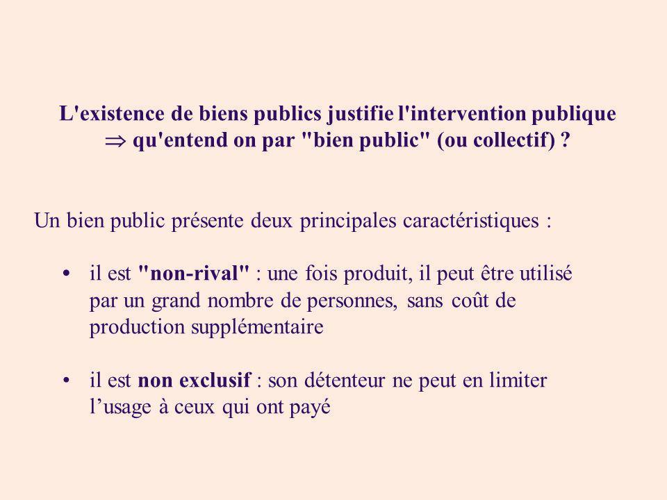 L'existence de biens publics justifie l'intervention publique qu'entend on par