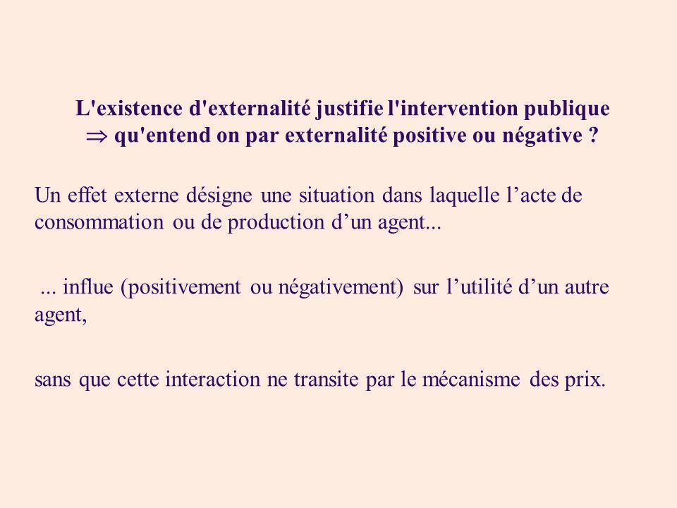 L'existence d'externalité justifie l'intervention publique qu'entend on par externalité positive ou négative ? Un effet externe désigne une situation