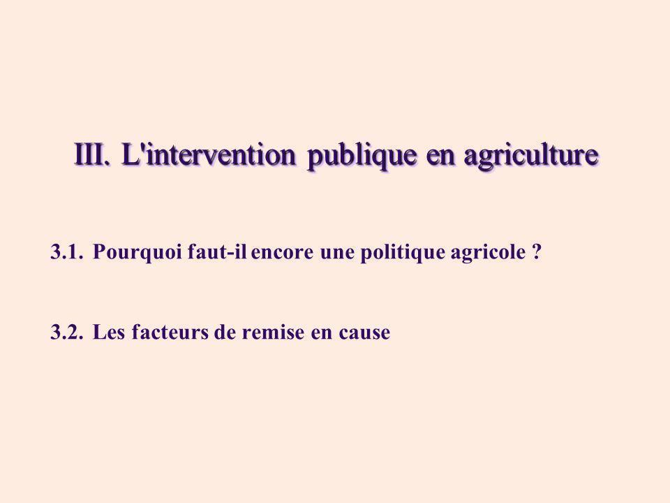 III. L'intervention publique en agriculture 3.1.Pourquoi faut-il encore une politique agricole ? 3.2.Les facteurs de remise en cause