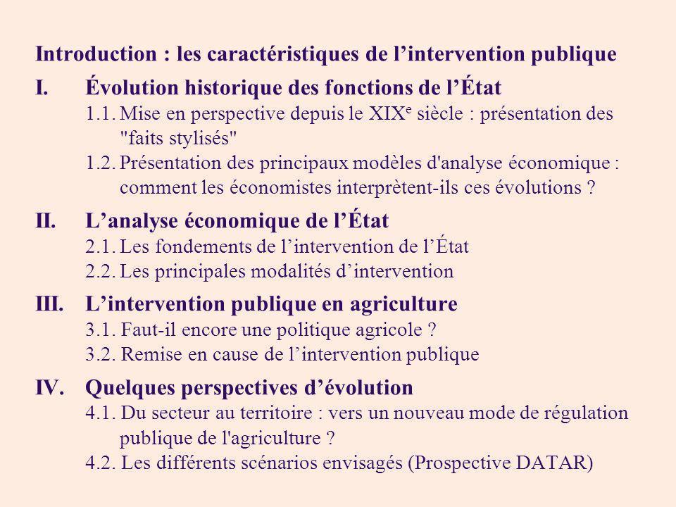 Introduction : les caractéristiques de lintervention publique I. Évolution historique des fonctions de lÉtat 1.1.Mise en perspective depuis le XIX e s