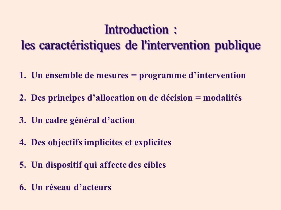 Introduction : les caractéristiques de l'intervention publique 1.Un ensemble de mesures = programme dintervention 2.Des principes dallocation ou de dé