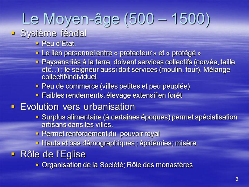 3 Le Moyen-âge (500 – 1500) Système féodal Système féodal Peu dEtat.