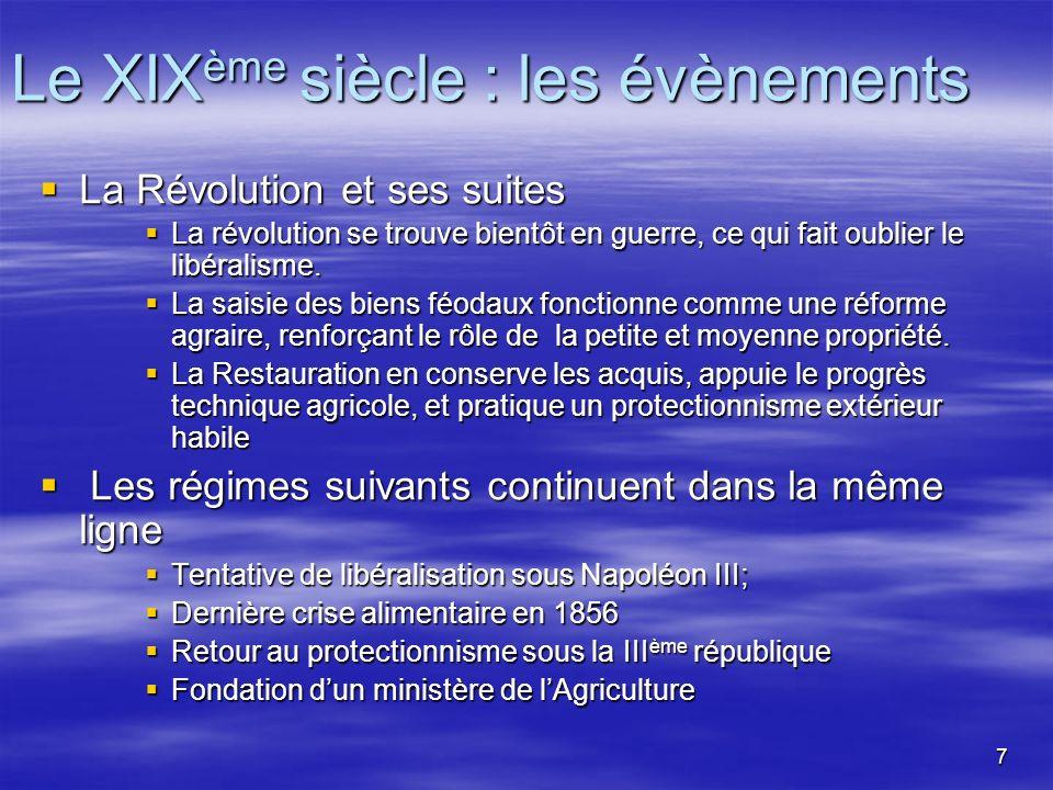 7 Le XIX ème siècle : les évènements La Révolution et ses suites La Révolution et ses suites La révolution se trouve bientôt en guerre, ce qui fait oublier le libéralisme.