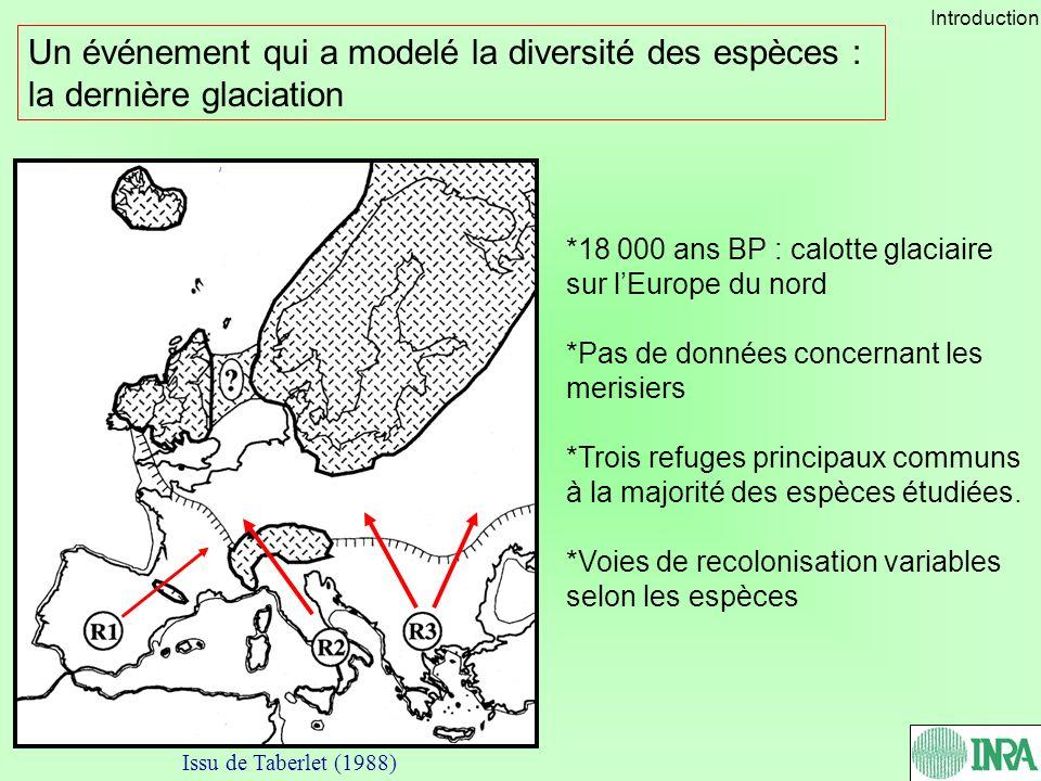 Un événement qui a modelé la diversité des espèces : la dernière glaciation *18 000 ans BP : calotte glaciaire sur lEurope du nord *Pas de données con