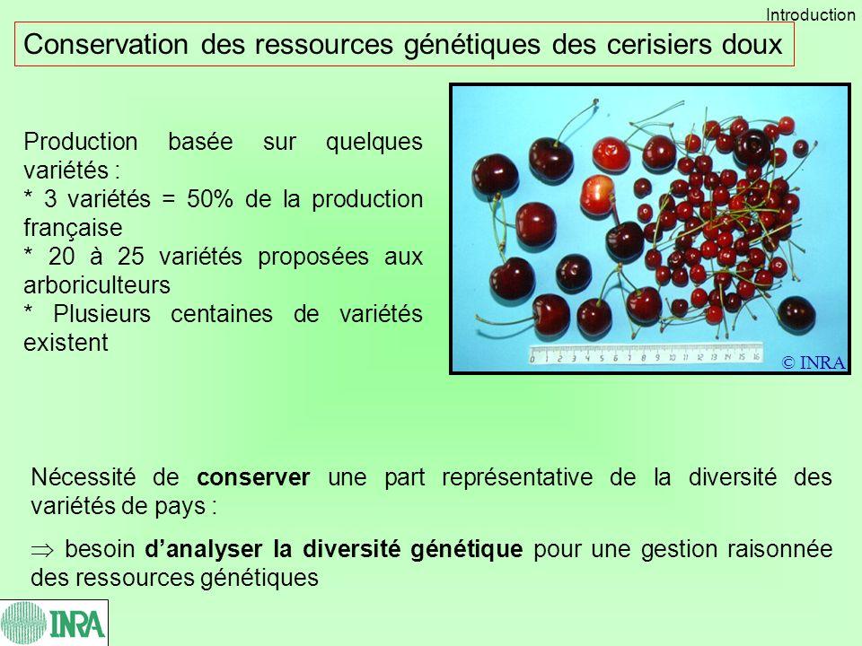 Production basée sur quelques variétés : * 3 variétés = 50% de la production française * 20 à 25 variétés proposées aux arboriculteurs * Plusieurs cen