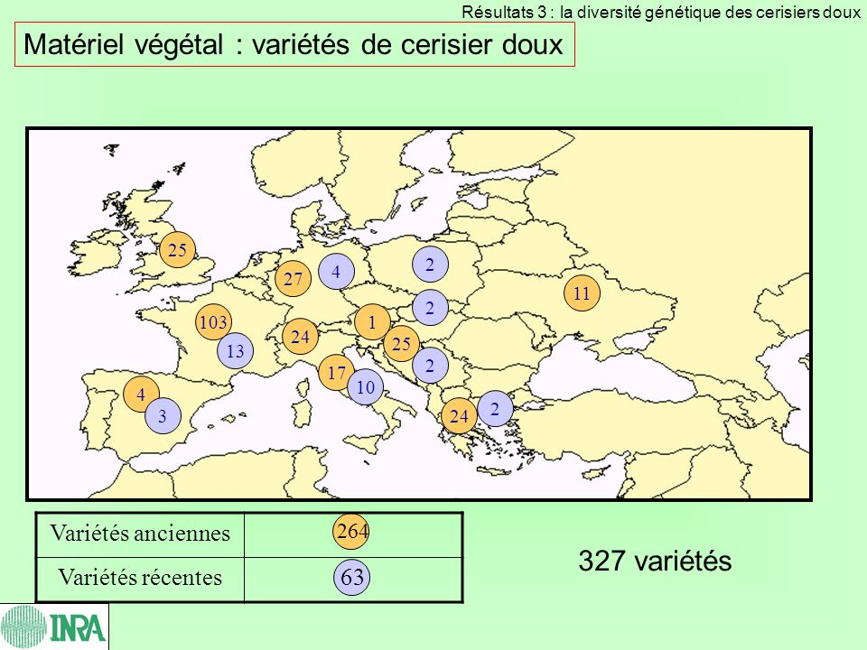 Matériel végétal : variétés de cerisier doux 17 4 27 103 Variétés anciennes 264 Variétés récentes63 327 variétés 3 2 4 13 24 25 1 2 10 2 11 24 25 2 Ré