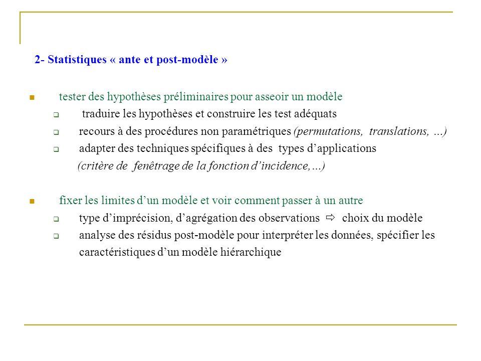 2- Statistiques « ante et post-modèle » tester des hypothèses préliminaires pour asseoir un modèle traduire les hypothèses et construire les test adéq
