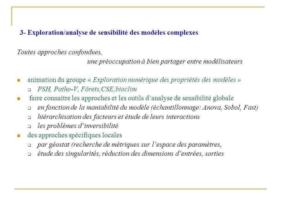 3- Exploration/analyse de sensibilité des modèles complexes Toutes approches confondues, une préoccupation à bien partager entre modélisateurs animati