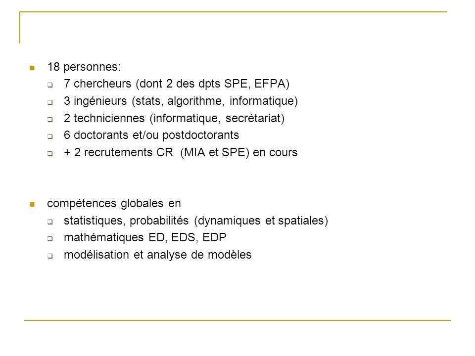 18 personnes: 7 chercheurs (dont 2 des dpts SPE, EFPA) 3 ingénieurs (stats, algorithme, informatique) 2 techniciennes (informatique, secrétariat) 6 do