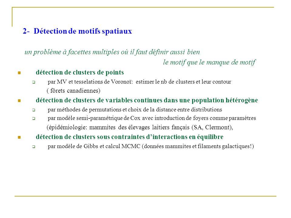 2- Détection de motifs spatiaux un problème à facettes multiples où il faut définir aussi bien le motif que le manque de motif détection de clusters d