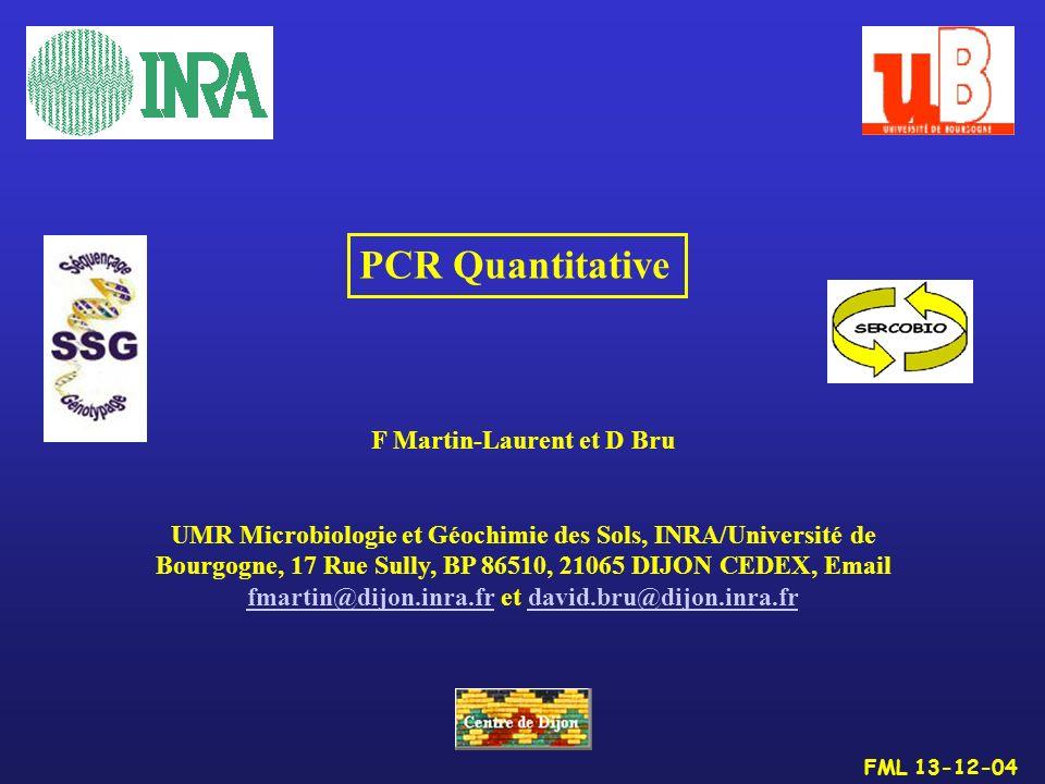 FML 13-12-04 PCR Quantitative F Martin-Laurent et D Bru UMR Microbiologie et Géochimie des Sols, INRA/Université de Bourgogne, 17 Rue Sully, BP 86510,
