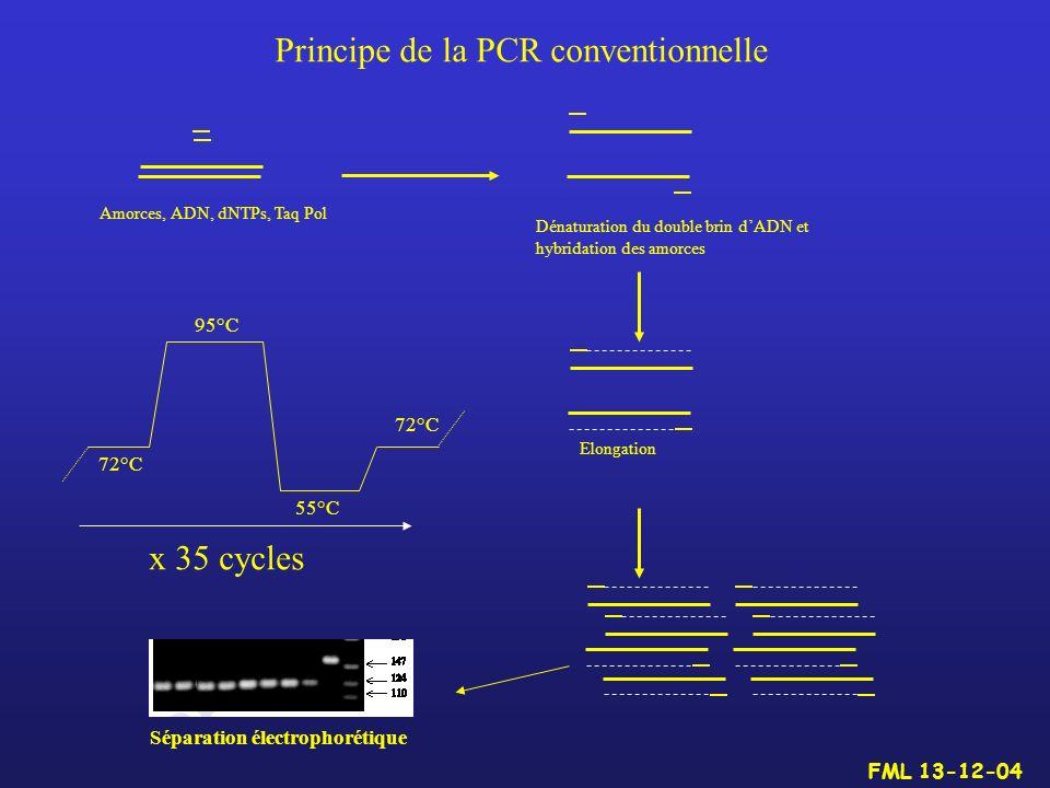 Principe de la PCR conventionnelle Dénaturation du double brin dADN et hybridation des amorces Elongation Amorces, ADN, dNTPs, Taq Pol 72°C 55°C 95°C