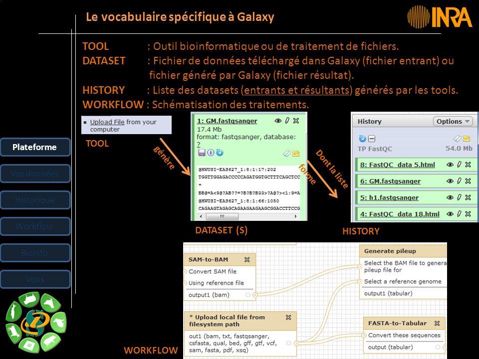 -- 18 -- Le vocabulaire spécifique à Galaxy TOOL : Outil bioinformatique ou de traitement de fichiers. DATASET : Fichier de données téléchargé dans Ga