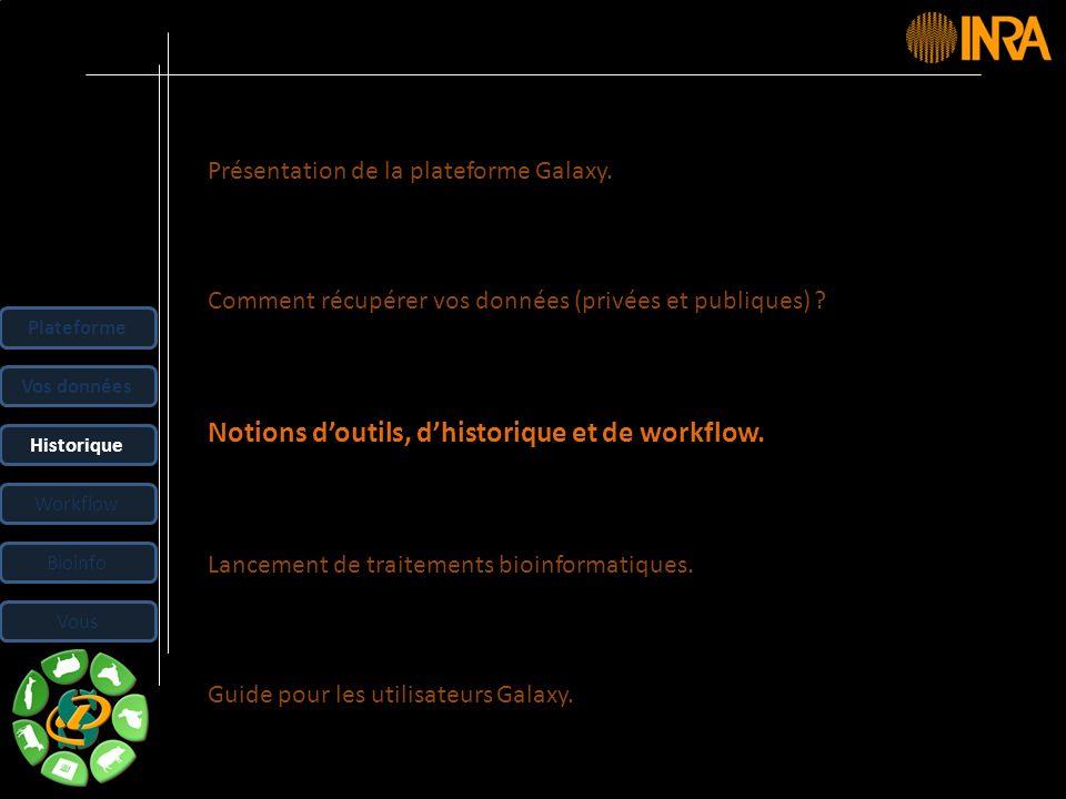 -- 24 -- Présentation de la plateforme Galaxy. Comment récupérer vos données (privées et publiques) ? Notions doutils, dhistorique et de workflow. Lan