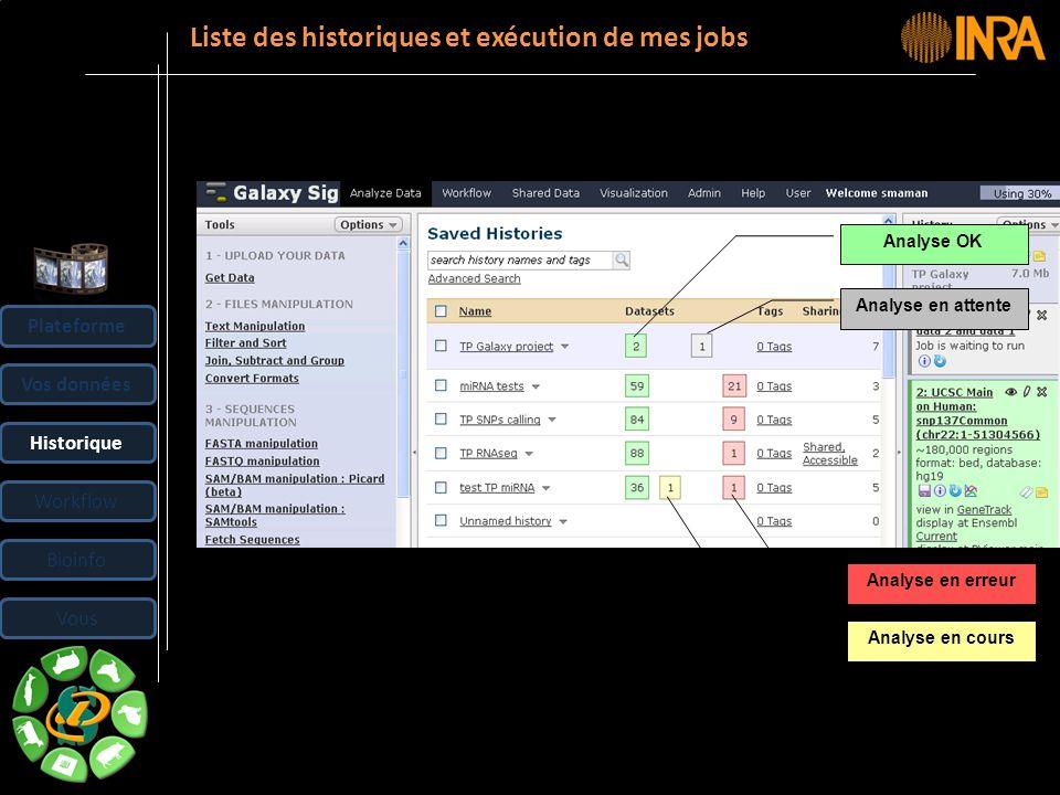 -- 29 -- Liste des historiques et exécution de mes jobs Plateforme Vos données Historique Workflow Bioinfo Vous Analyse en cours Analyse en attente An
