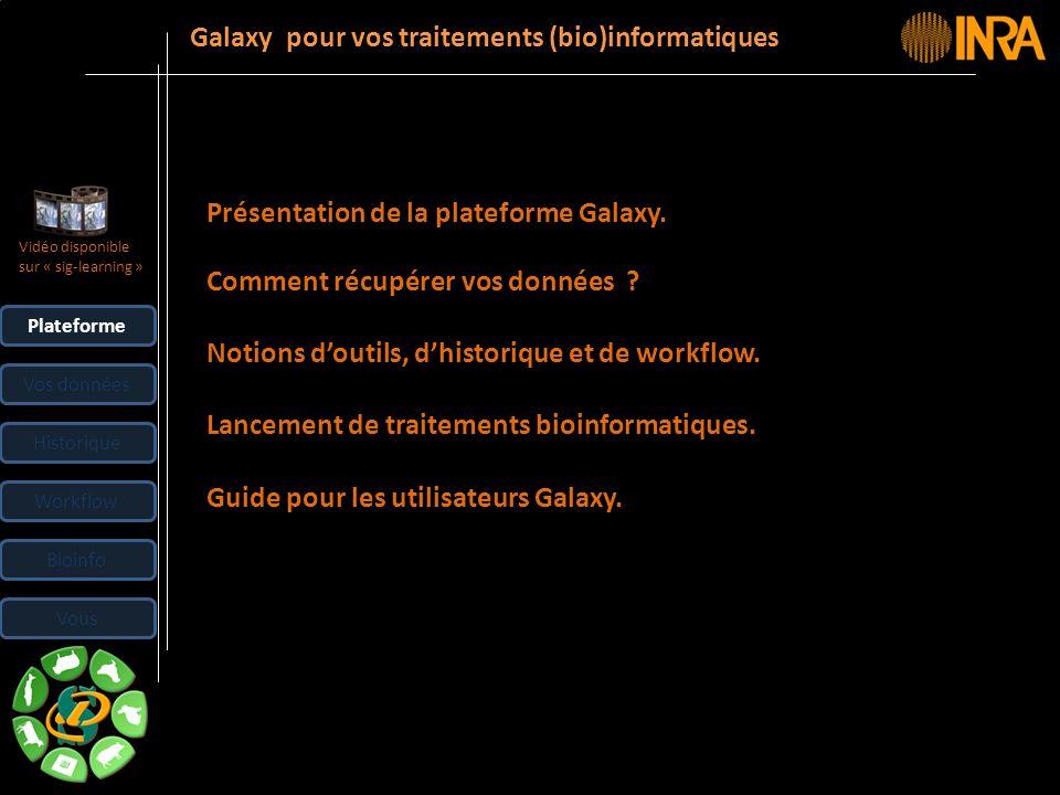 -- 3 -- Plateforme Vos données Historique Workflow Bioinfo Présentation de la plateforme Galaxy. Comment récupérer vos données ? Notions doutils, dhis