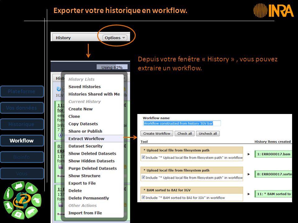 -- 32 -- Depuis votre fenêtre « History », vous pouvez extraire un workflow. Exporter votre historique en workflow. Plateforme Vos données Historique