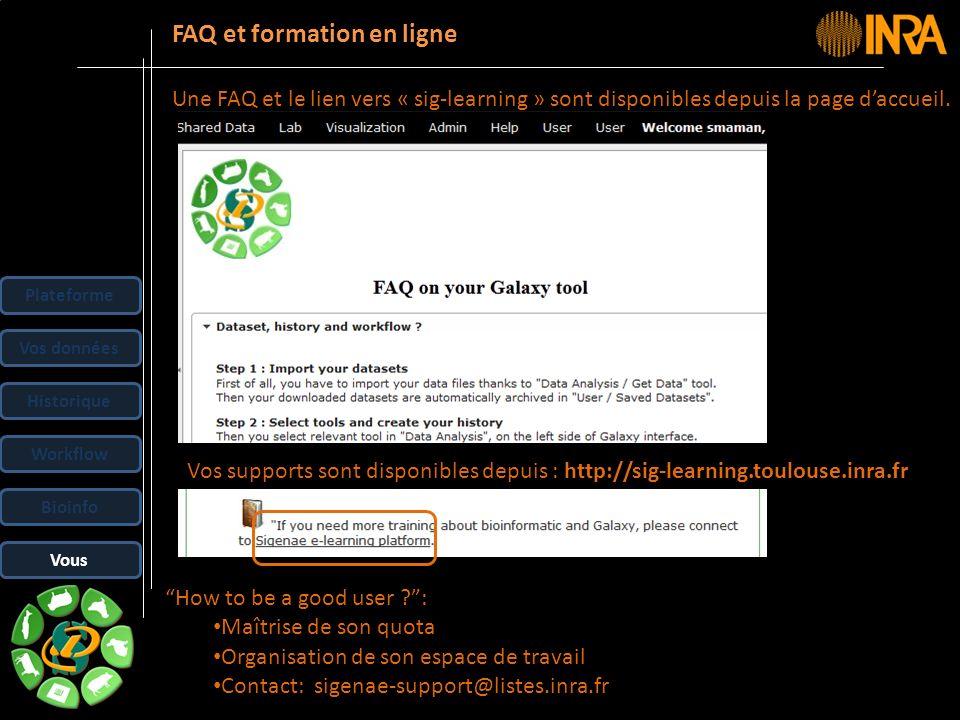 -- 41 -- FAQ et formation en ligne Une FAQ et le lien vers « sig-learning » sont disponibles depuis la page daccueil. Plateforme Vos données Historiqu