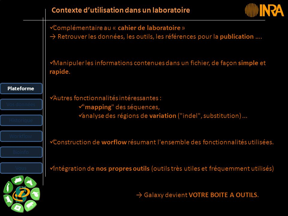 -- 19 -- Principaux onglets ANALYSE DATA : Page daccueil de Galaxy.