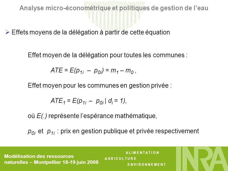 A L I M E N T A T I O N A G R I C U L T U R E E N V I R O N N E M E N T Modélisation des ressources naturelles – Montpellier 18-19 juin 2008 Analyse micro-économétrique et politiques de gestion de leau Effets moyens de la délégation à partir de cette équation Effet moyen de la délégation pour toutes les communes : ATE = E(p 1i – p 0i ) = m 1 – m 0, Effet moyen pour les communes en gestion privée : ATE 1 = E(p 1i – p 0i | d i = 1), où E(.) représente lespérance mathématique, p 0i et p 1i : prix en gestion publique et privée respectivement