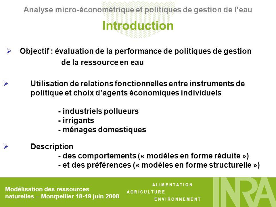 A L I M E N T A T I O N A G R I C U L T U R E E N V I R O N N E M E N T 7 intrants : - travail salarié - engrais azotés - produits phytosanitaires - semences - énergie - eau dirrigation - autres intrants (variables) Subventions à la surface (par ha) : par département Prix des intrants : indices régionaux IPAMPA, convertis au niveau départemental Modélisation des ressources naturelles – Montpellier 18-19 juin 2008