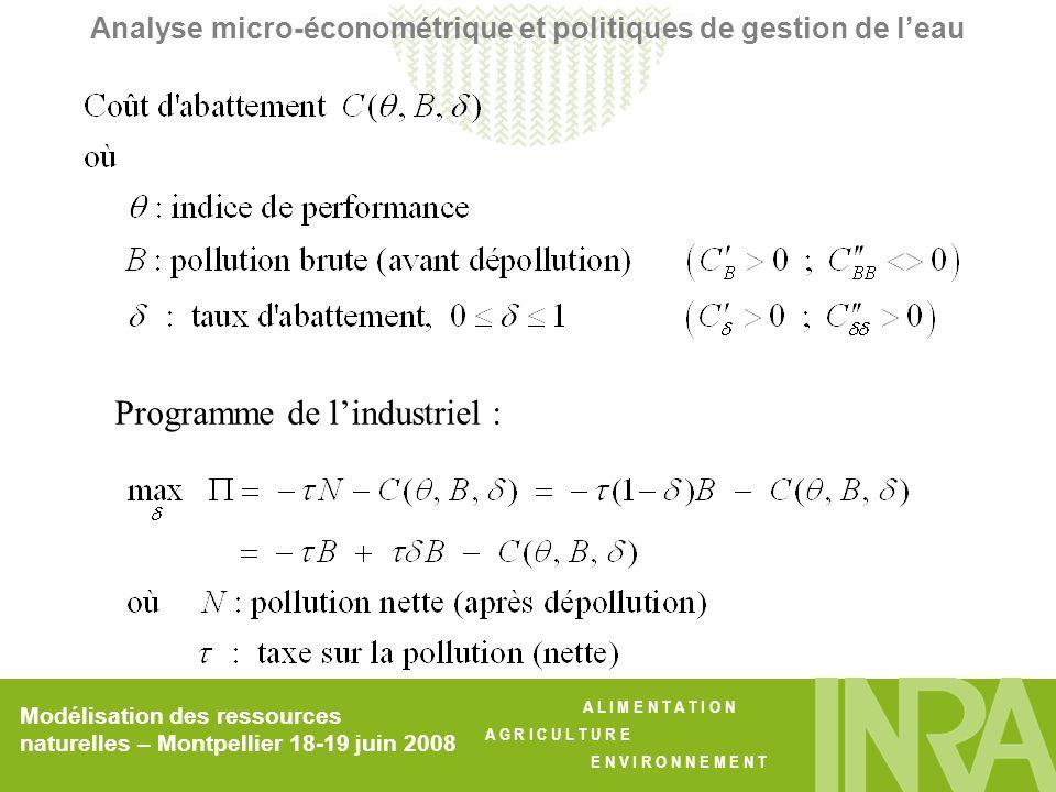 A L I M E N T A T I O N A G R I C U L T U R E E N V I R O N N E M E N T Modélisation des ressources naturelles – Montpellier 18-19 juin 2008 Analyse micro-économétrique et politiques de gestion de leau Programme de lindustriel :