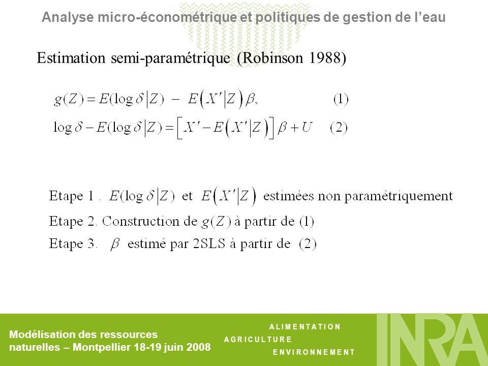 A L I M E N T A T I O N A G R I C U L T U R E E N V I R O N N E M E N T Modélisation des ressources naturelles – Montpellier 18-19 juin 2008 Analyse micro-économétrique et politiques de gestion de leau Estimation semi-paramétrique (Robinson 1988)