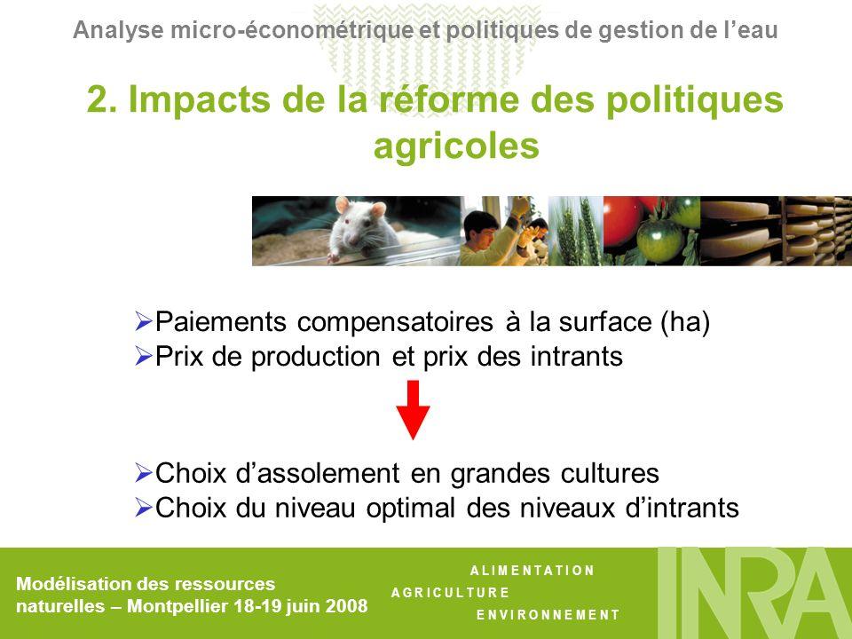 A L I M E N T A T I O N A G R I C U L T U R E E N V I R O N N E M E N T Modélisation des ressources naturelles – Montpellier 18-19 juin 2008 Analyse micro-économétrique et politiques de gestion de leau VariableEstimation OLSEstimation IV log t0.6830 **0.6729 ** (0.1910)(0.1933) log B 0.0050-0.0179 (0.0522)(0.0612) alpha_10.9927 ** 1.0266** (0.0723)(0.0917) alpha_22.4641 **2.4861 ** (0.4151)(0.4270)