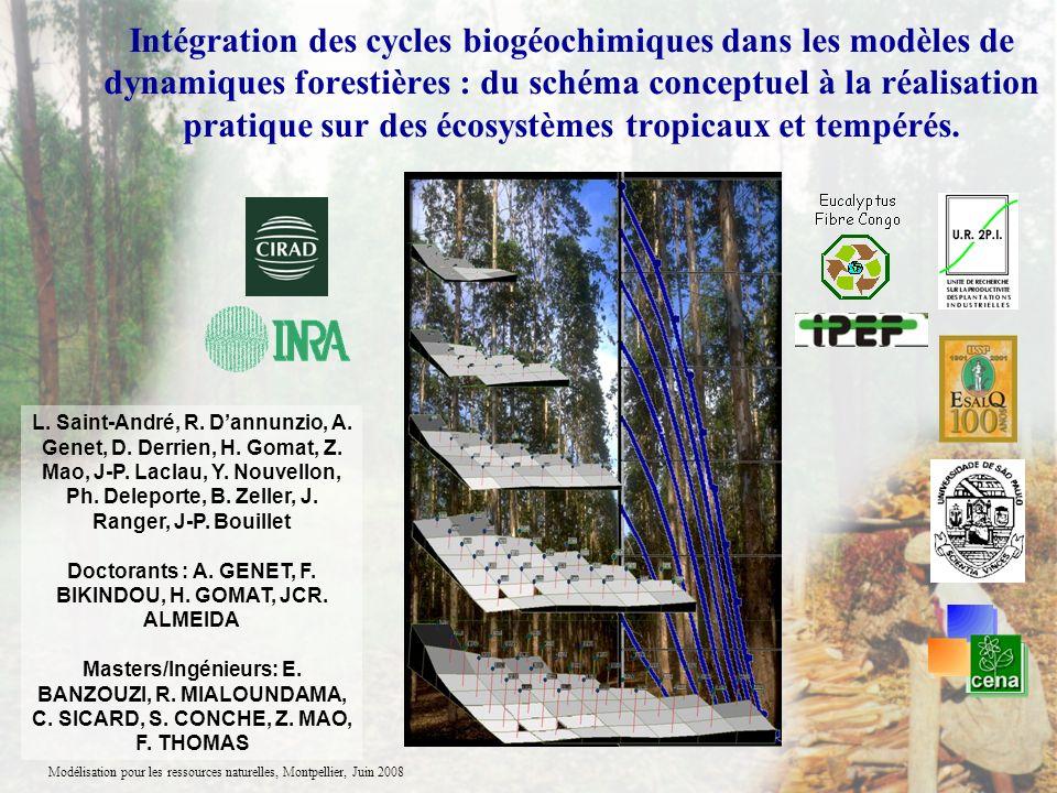 Modélisation pour les ressources naturelles, Montpellier, Juin 2008 Intégration des cycles biogéochimiques dans les modèles de dynamiques forestières