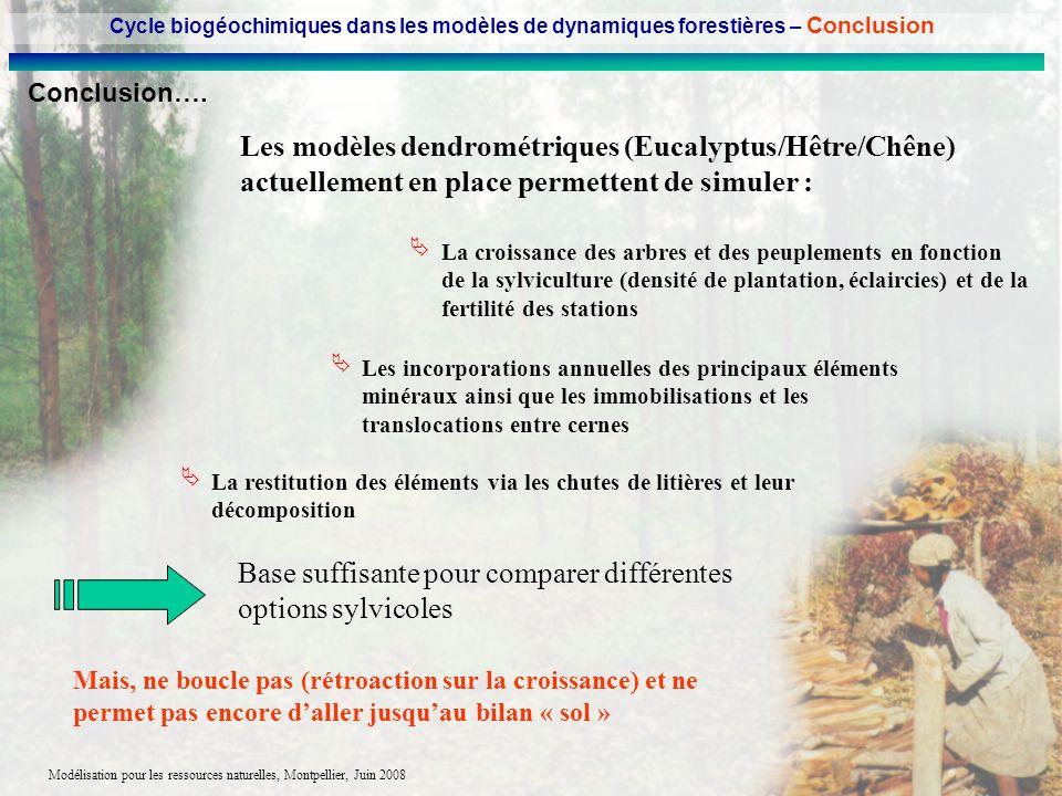 Modélisation pour les ressources naturelles, Montpellier, Juin 2008 Conclusion…. Les modèles dendrométriques (Eucalyptus/Hêtre/Chêne) actuellement en
