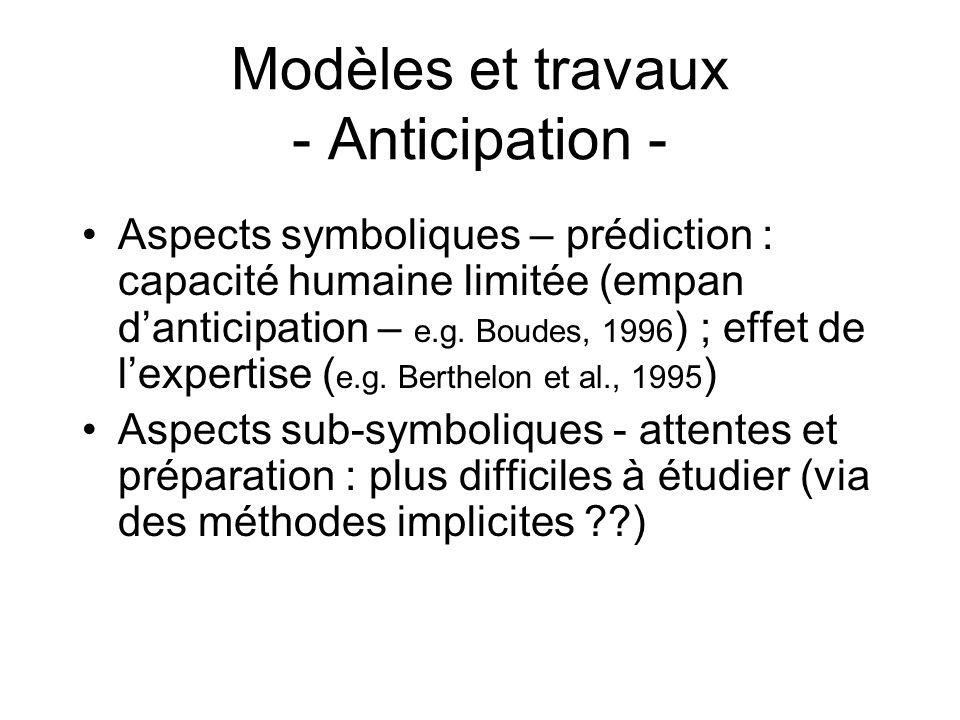 Modèles et travaux - Anticipation - Aspects symboliques – prédiction : capacité humaine limitée (empan danticipation – e.g. Boudes, 1996 ) ; effet de