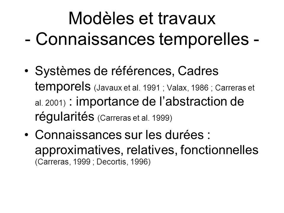 Modèles et travaux - Connaissances temporelles - Systèmes de références, Cadres temporels (Javaux et al. 1991 ; Valax, 1986 ; Carreras et al. 2001) :