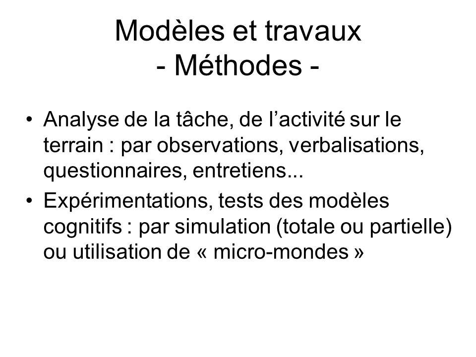 Modèles et travaux - Méthodes - Analyse de la tâche, de lactivité sur le terrain : par observations, verbalisations, questionnaires, entretiens... Exp