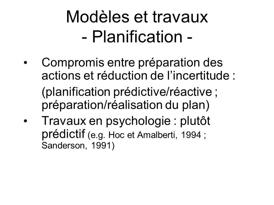 Modèles et travaux - Planification - Compromis entre préparation des actions et réduction de lincertitude : (planification prédictive/réactive ; prépa
