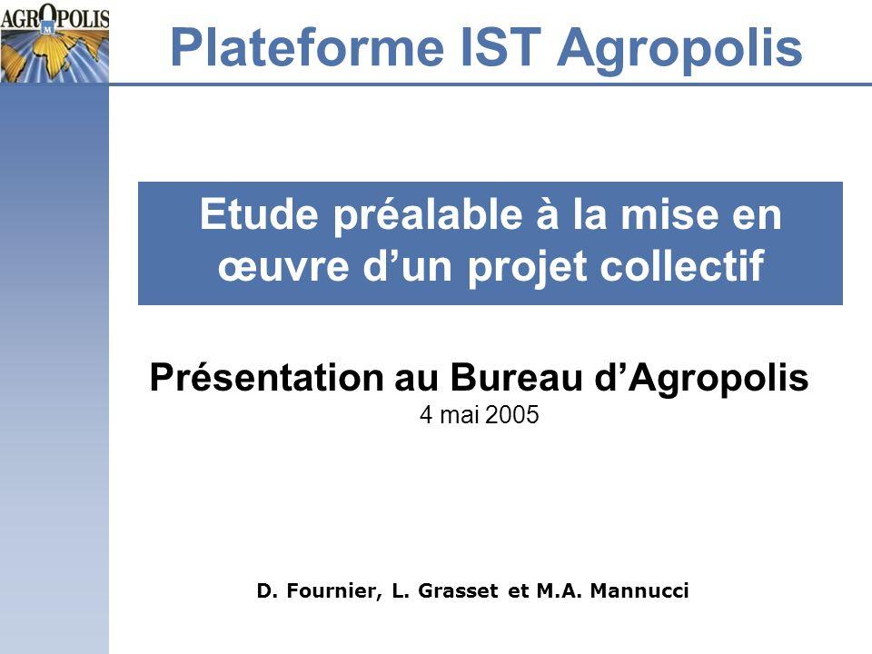 Plateforme IST Agropolis Etude préalable à la mise en œuvre dun projet collectif D. Fournier, L. Grasset et M.A. Mannucci Présentation au Bureau dAgro
