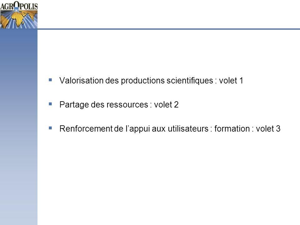 Valorisation des productions scientifiques : volet 1 Partage des ressources : volet 2 Renforcement de lappui aux utilisateurs : formation : volet 3