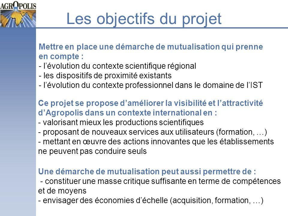 Les objectifs du projet Mettre en place une démarche de mutualisation qui prenne en compte : - lévolution du contexte scientifique régional - les disp