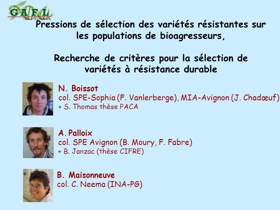 Pressions de sélection des variétés résistantes sur les populations de bioagresseurs, Recherche de critères pour la sélection de variétés à résistance