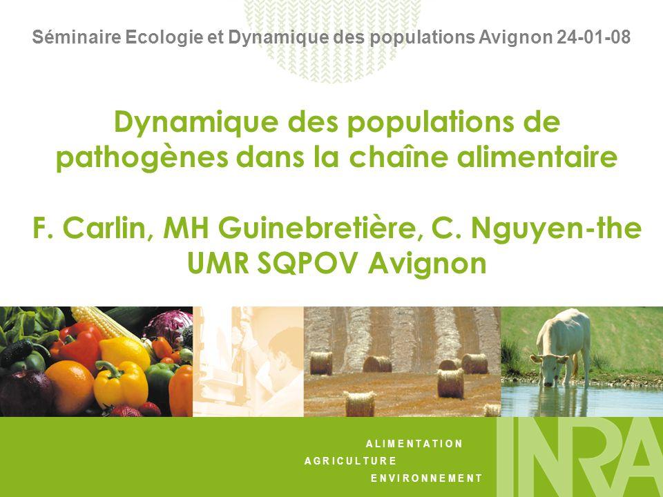 A L I M E N T A T I O N A G R I C U L T U R E E N V I R O N N E M E N T Séminaire Ecologie et Dynamique des populations Avignon 24-01-08 Dynamique des