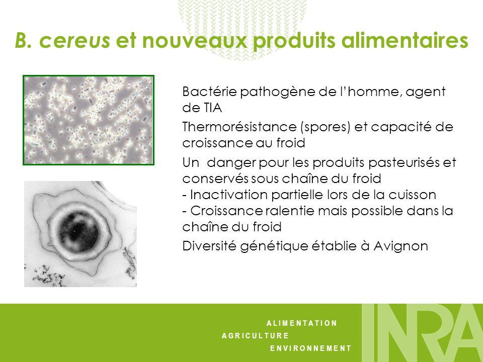 A L I M E N T A T I O N A G R I C U L T U R E E N V I R O N N E M E N T Bactérie pathogène de lhomme, agent de TIA Thermorésistance (spores) et capaci