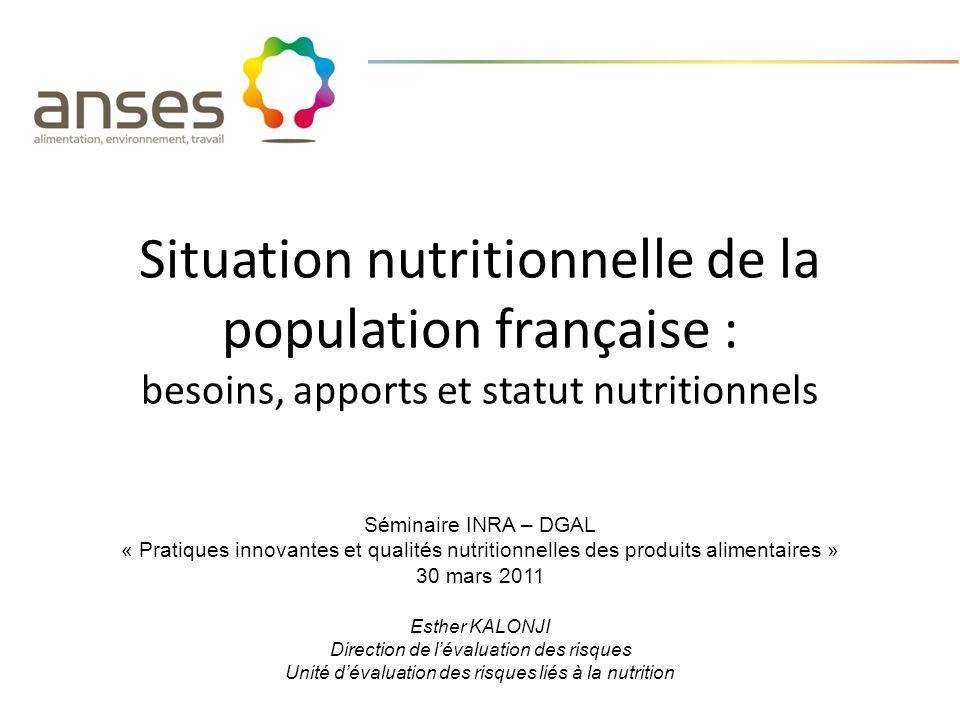 Situation nutritionnelle de la population française : besoins, apports et statut nutritionnels Séminaire INRA – DGAL « Pratiques innovantes et qualité