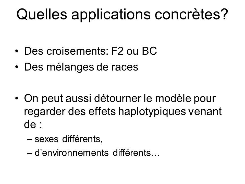 Quelles applications concrètes? Des croisements: F2 ou BC Des mélanges de races On peut aussi détourner le modèle pour regarder des effets haplotypiqu