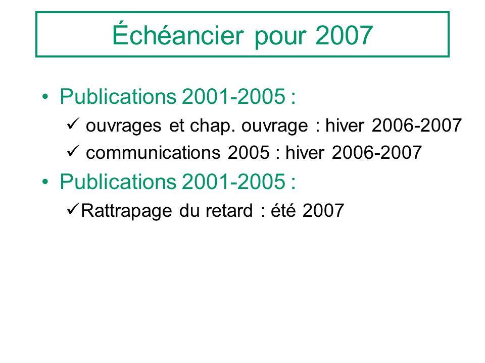 Échéancier pour 2007 Publications 2001-2005 : ouvrages et chap. ouvrage : hiver 2006-2007 communications 2005 : hiver 2006-2007 Publications 2001-2005