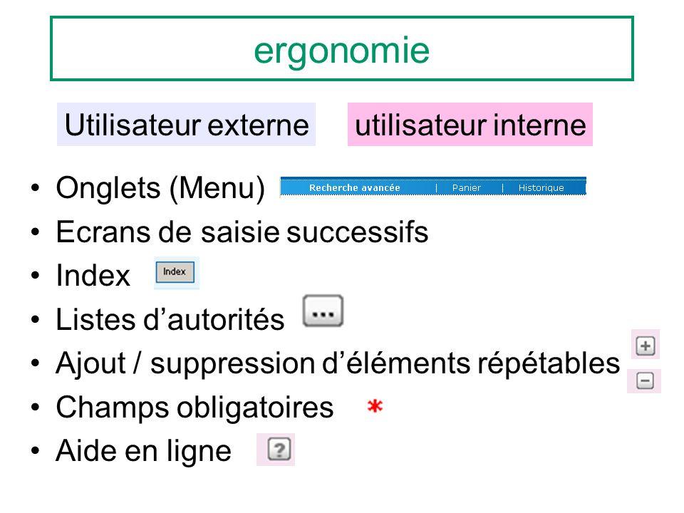 ergonomie Onglets (Menu) Ecrans de saisie successifs Index Listes dautorités Ajout / suppression déléments répétables Champs obligatoires Aide en lign